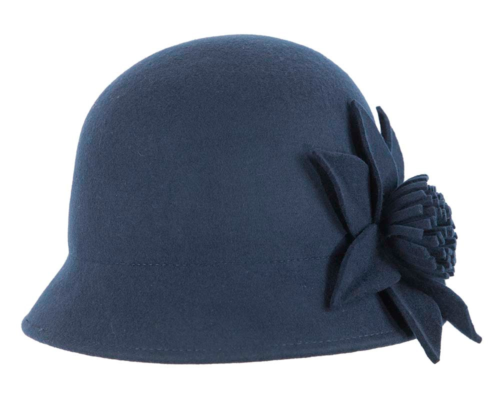 Navy ladies winter bucket hat with flower by Cupids Millinery