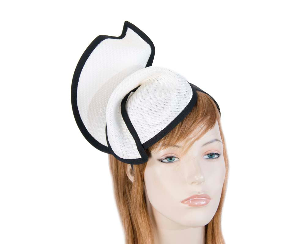 White black fashion pillbox fascinator hat for races Max Alexander MA564WB
