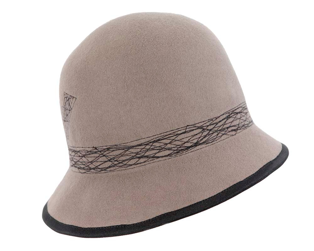 Grey ladies winter bucket hat by Cupids Millinery