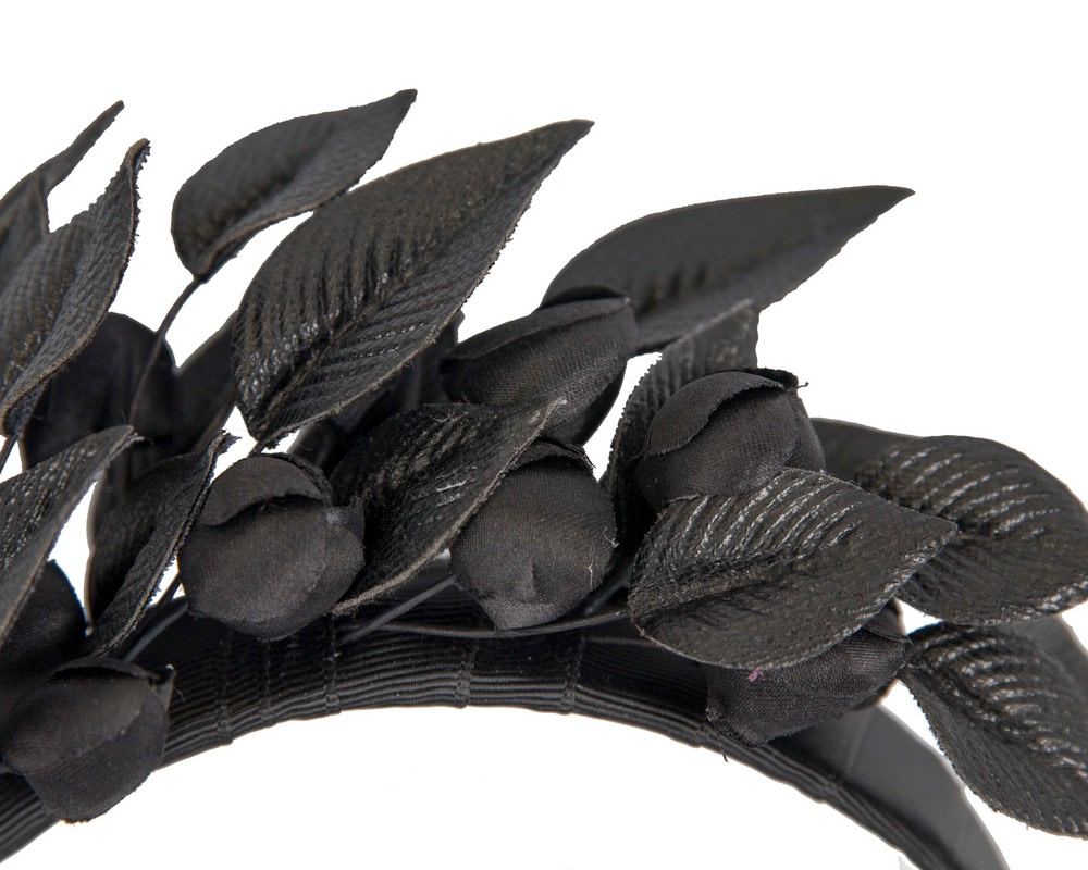Black sculptured leather flower headband fascinator by Max Alexander