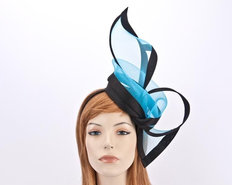 Turquoise black fascinator for Melbourne Cup Ascot Kentucky Derby buy online S107TB