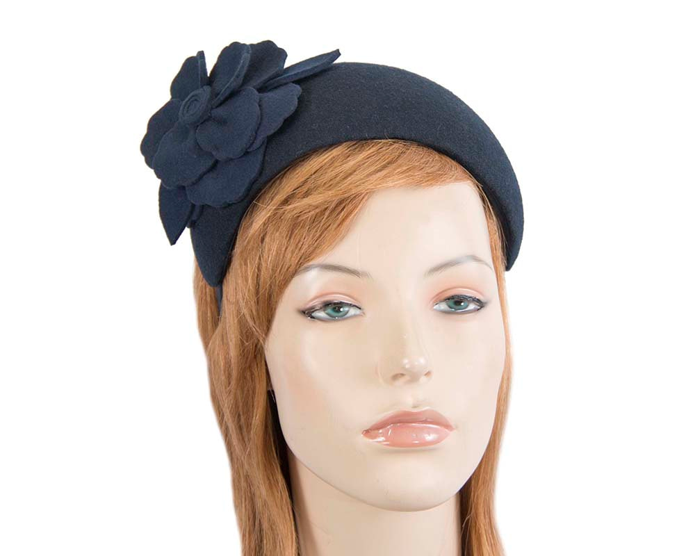 Wide navy winter headband with flower by Max Alexander