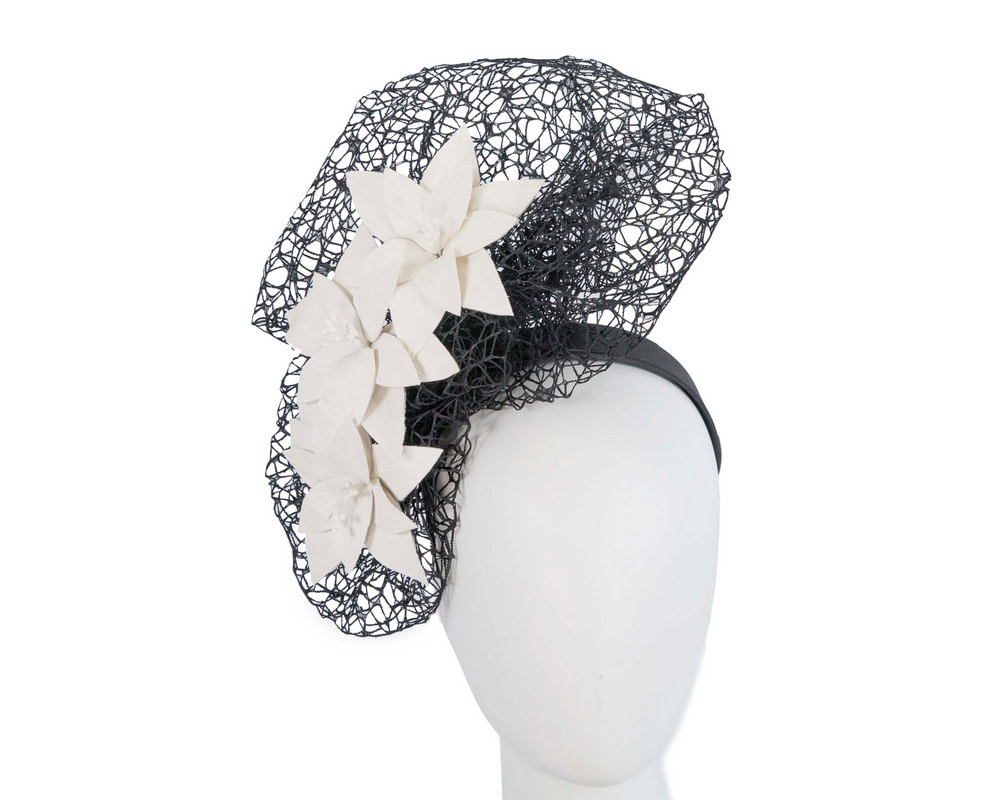 Staggering black & cream racing fascinator by Fillies Collection