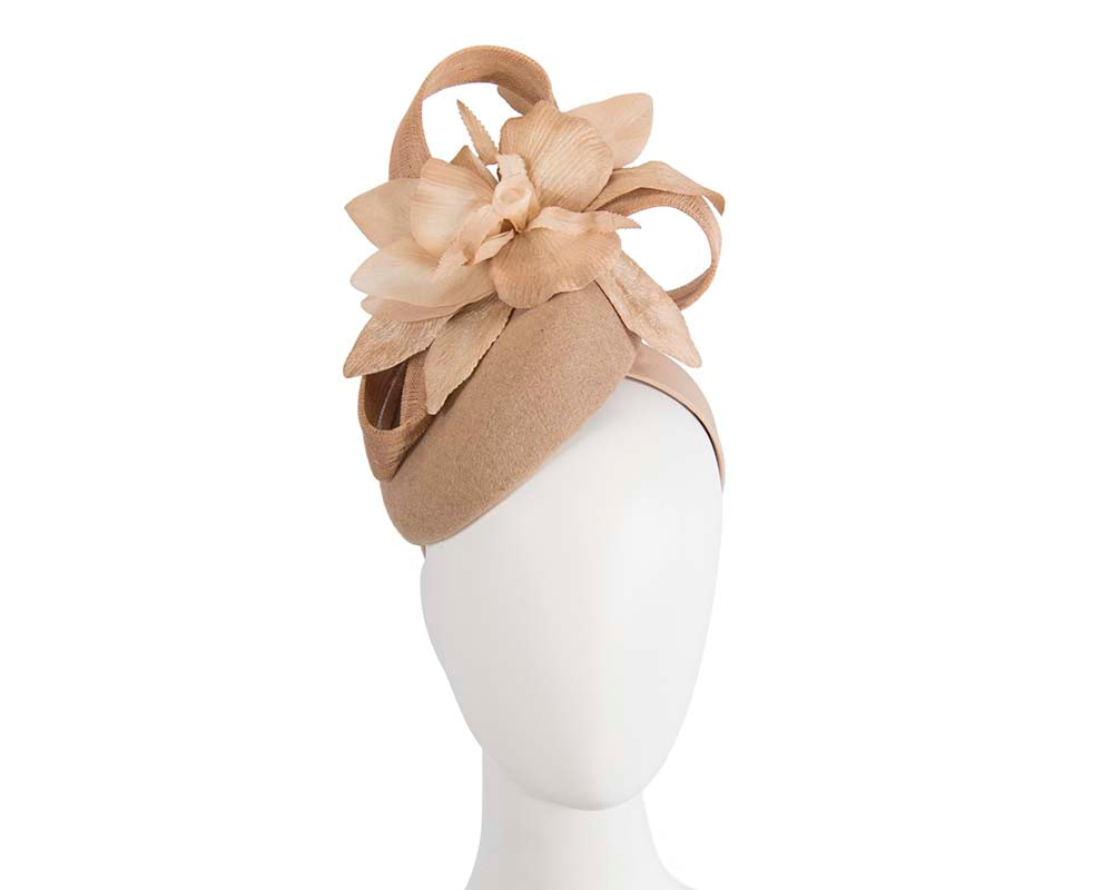 Tall beige winter racing pillbox fascinator by Fillies Collection