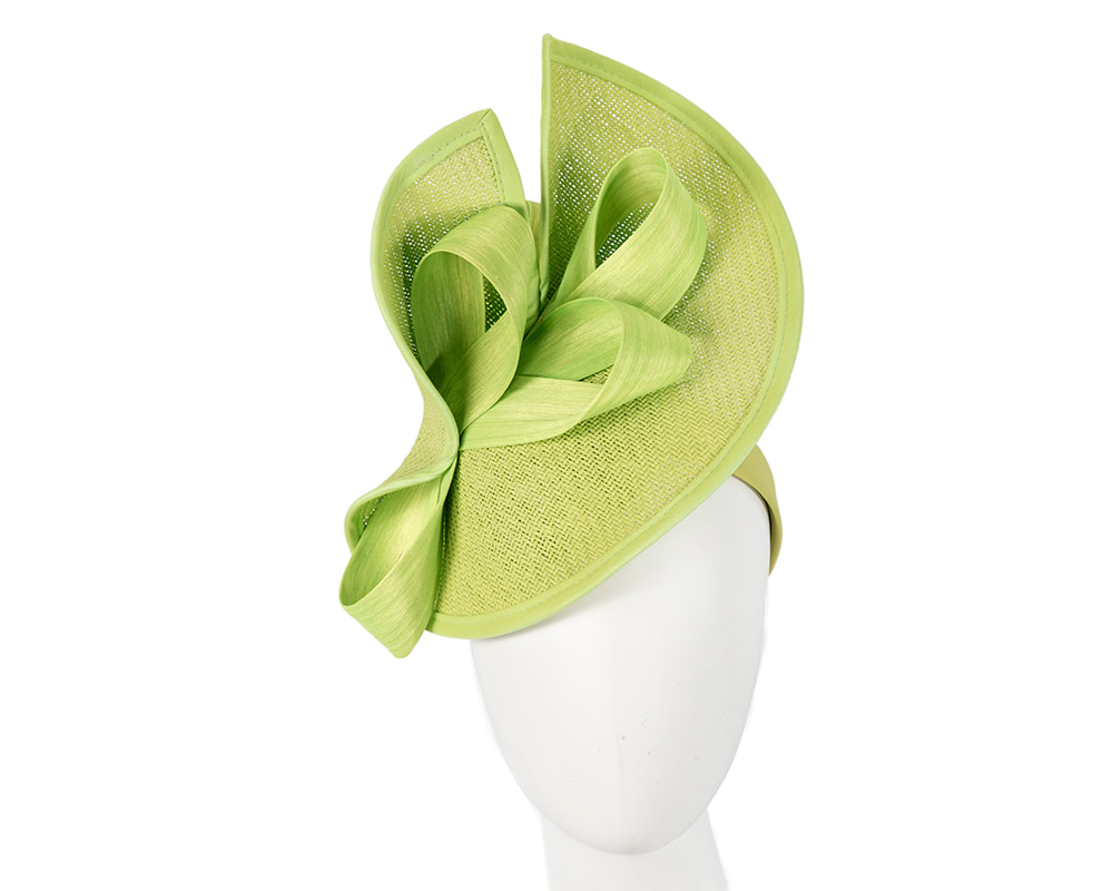 Large lime green Fillies Collection racing fascinator with bow