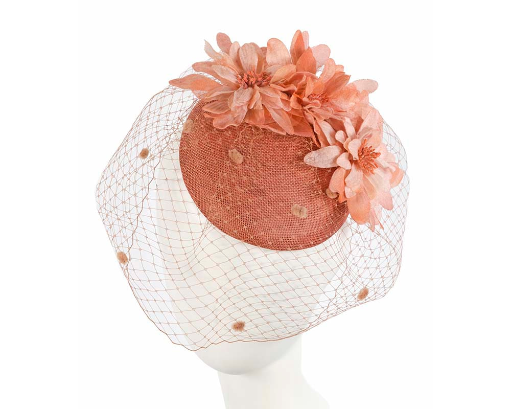 Dark Coral ladies pillbox fascinator with veil by Cupids Millinery Melbourne