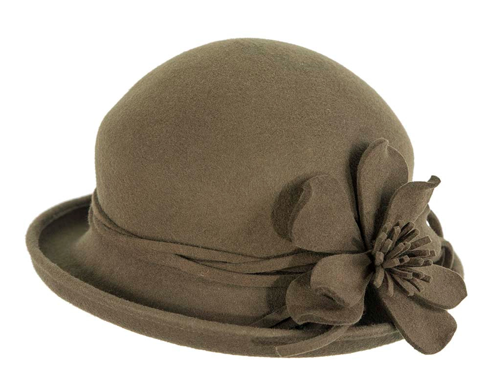 Olive felt winter cloche hat by Cupids Millinery Melbourne