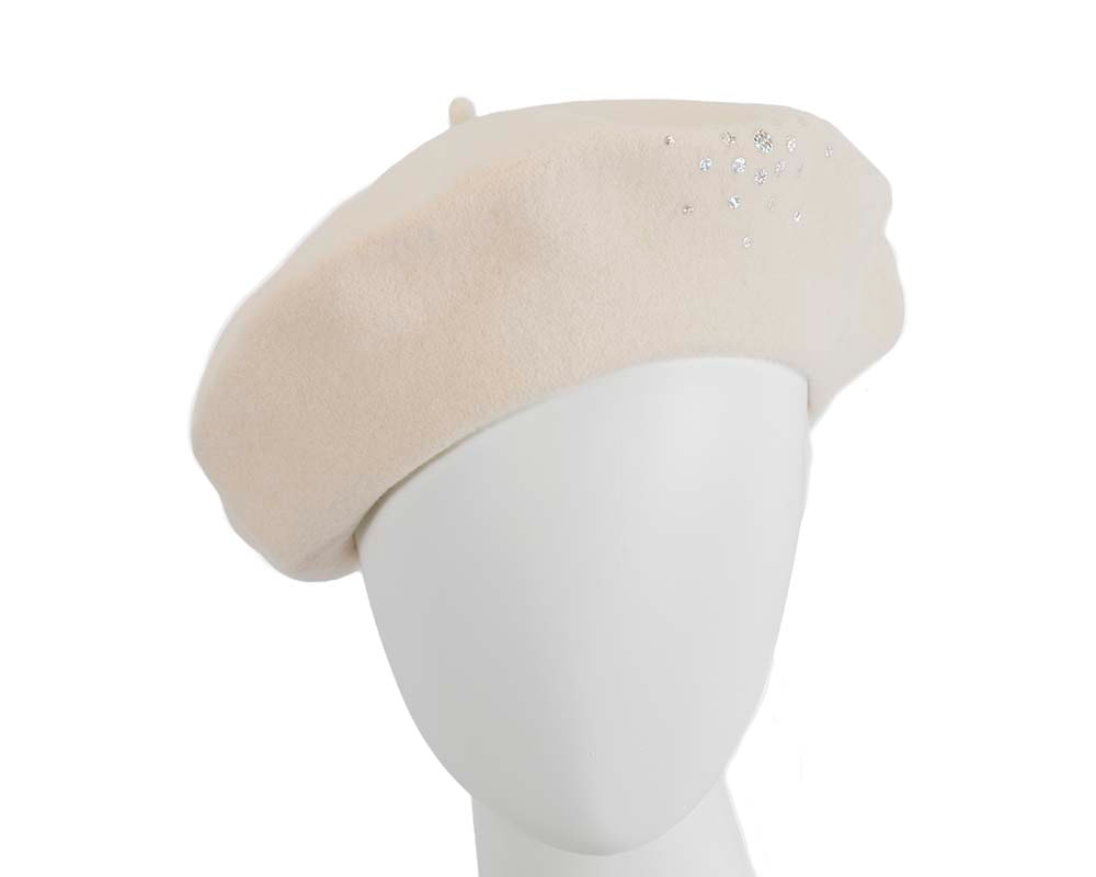 Cream winter french beret with stones by Max Alexander