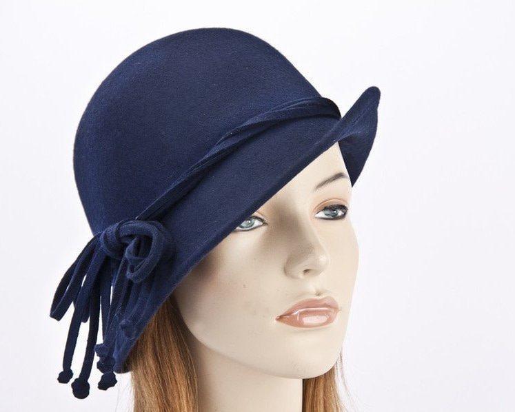 Navy felt cloche hat with rope trim J310N