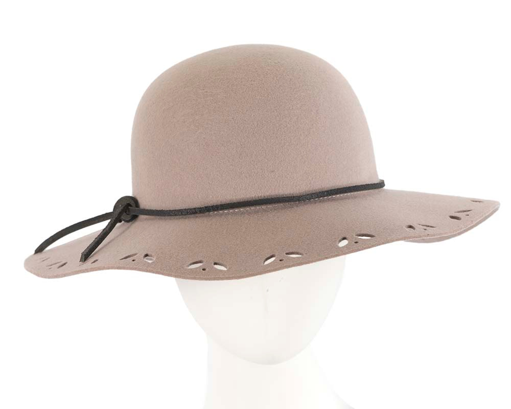 Wide brim grey winter cloche hat by Cupids Millinery Melbourne