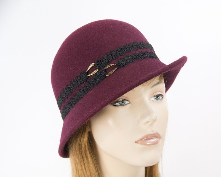 Burgundy cloche felt hat by Max Alexander