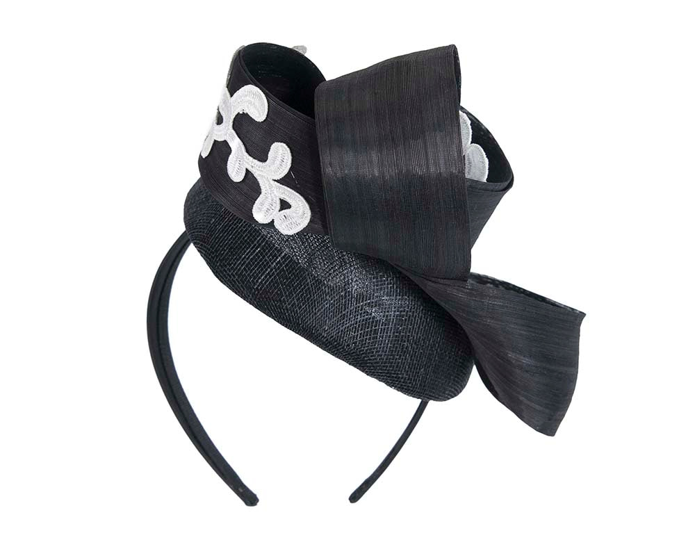 Stunning black & white pillbox fascinator with lace by Fillies Collection