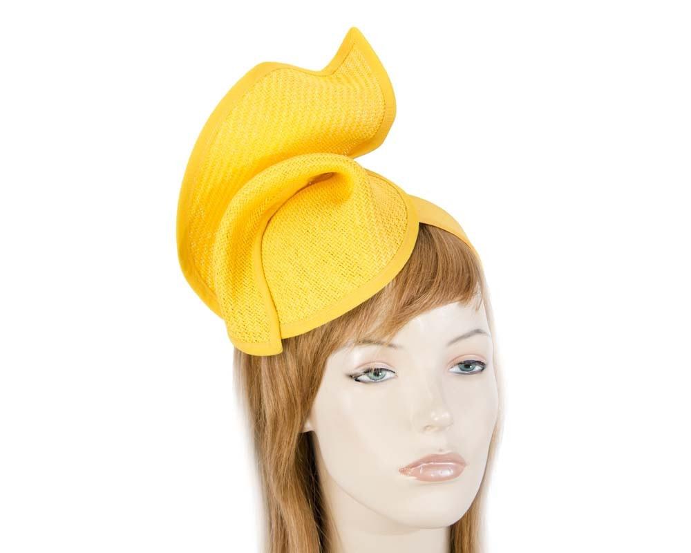 Yellow fashion pillbox fascinator hat for races