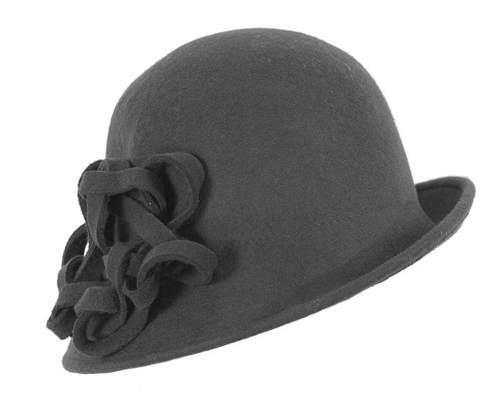 Black felt cloche hat with knot by Max Alexander