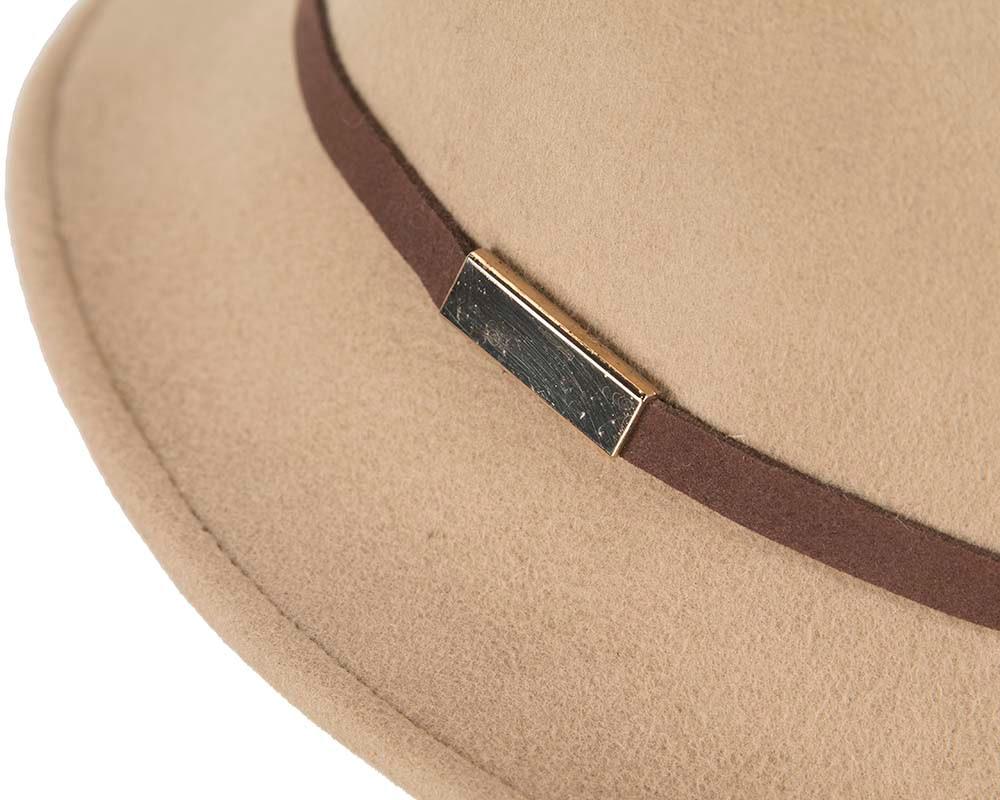 Wide brim felt beige fedora hat by Cupids Millinery Melbourne