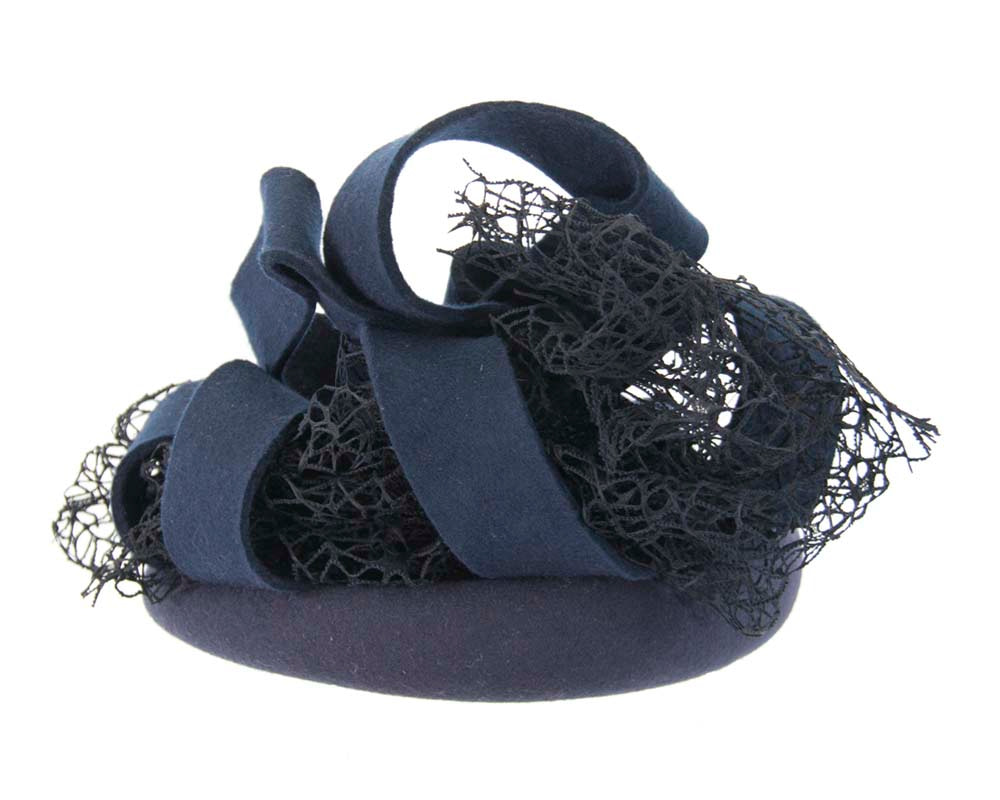 Bespoke navy felt winter fascinator