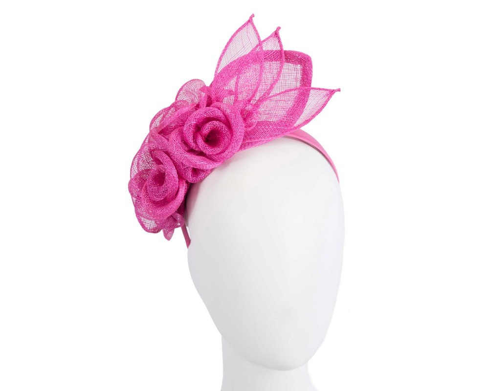 Large fuchsia sinamay  flower fascinator by Max Alexander