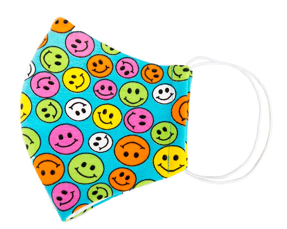 Comfortable re-usable cotton jersey face mask with smiley faces