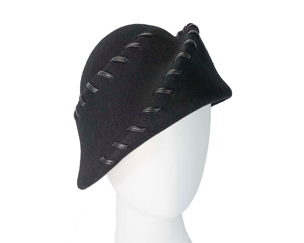 Exclusive black felt ladies fashion hat