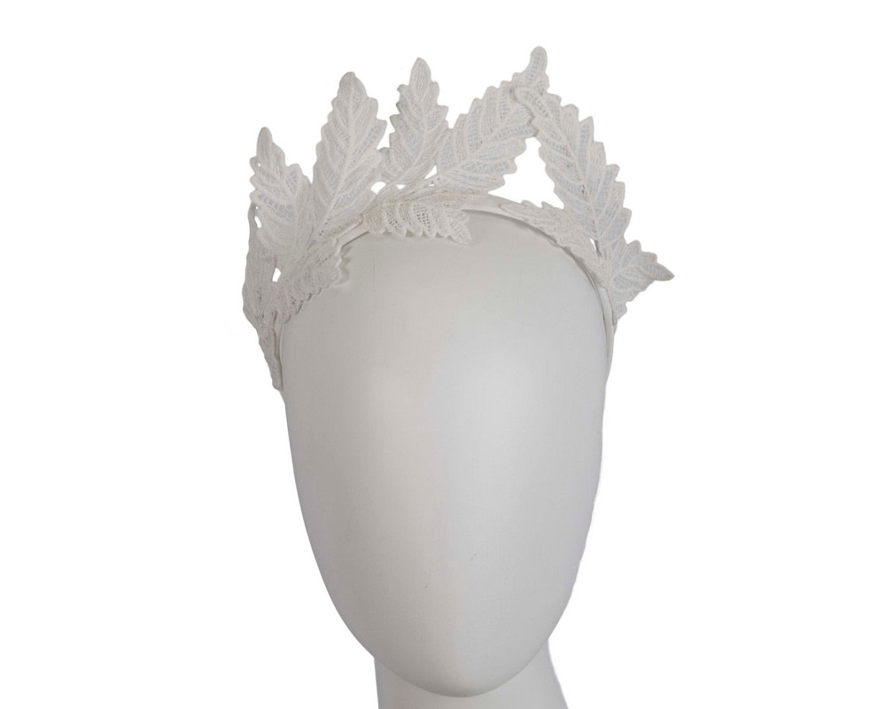 Ivory lace crown racing fascinator by Max Alexander