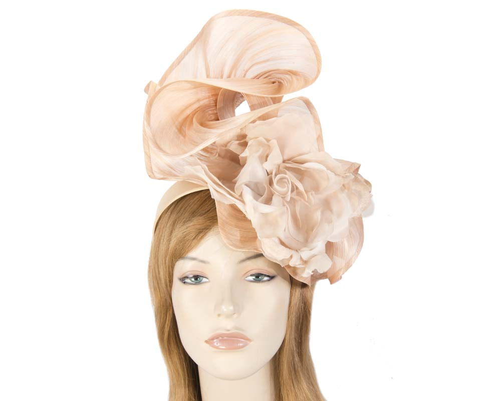 Bespoke large nude fascinator