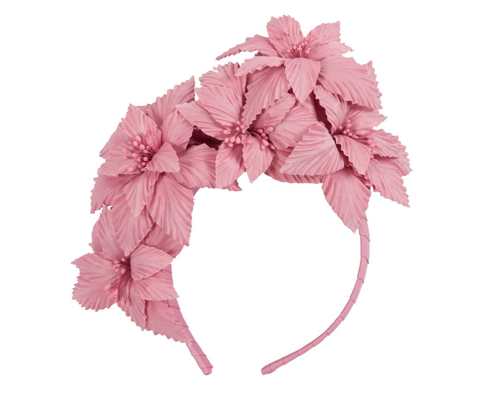Dusty pink sculptured flower headband fascinator by Fillies Collection