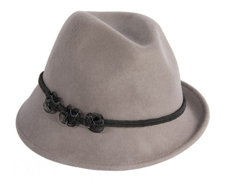 Grey trilby felt hat