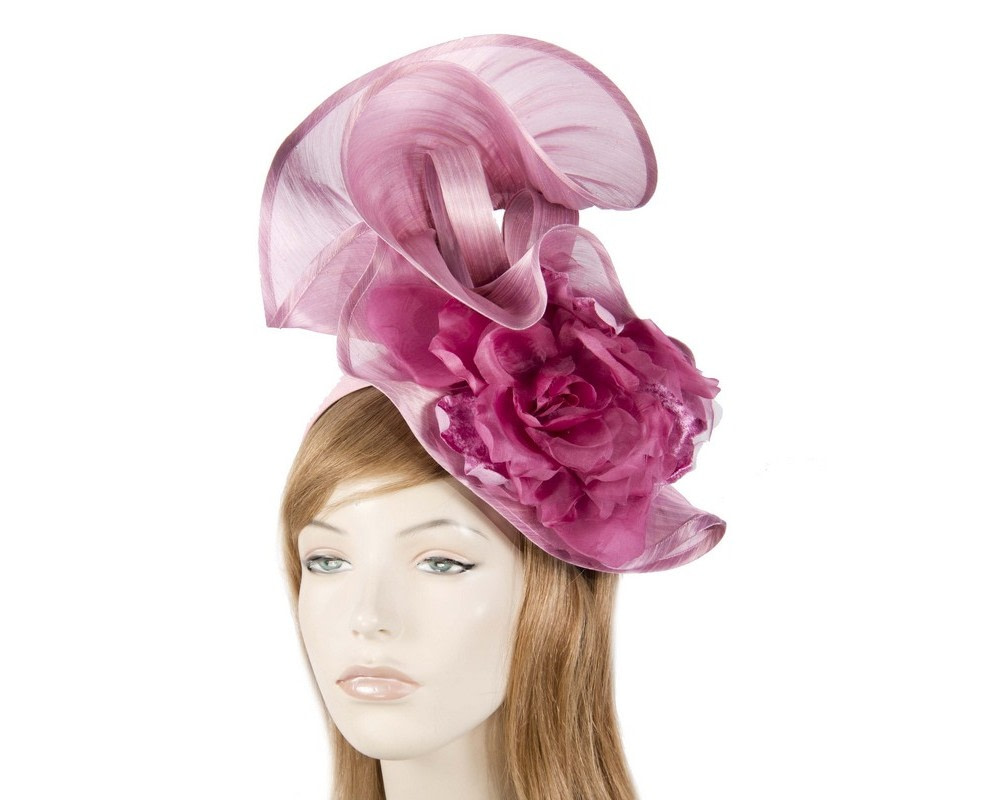 Bespoke large dusty pink fascinator