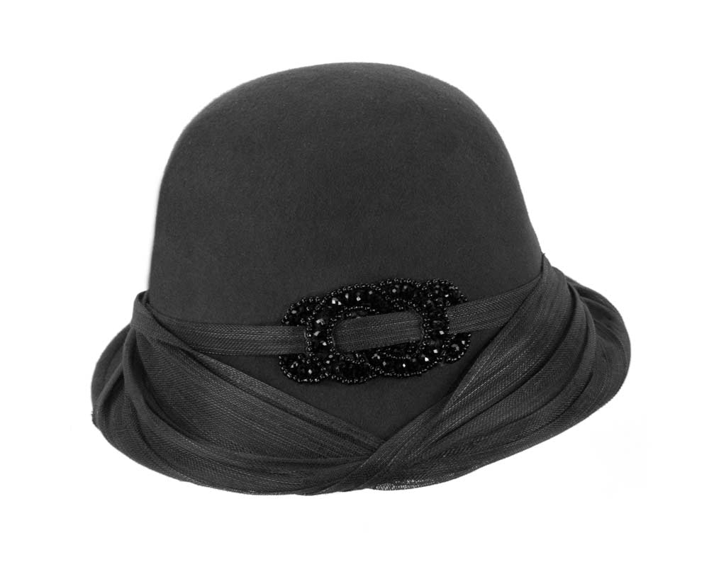 Black felt draped cloche hat