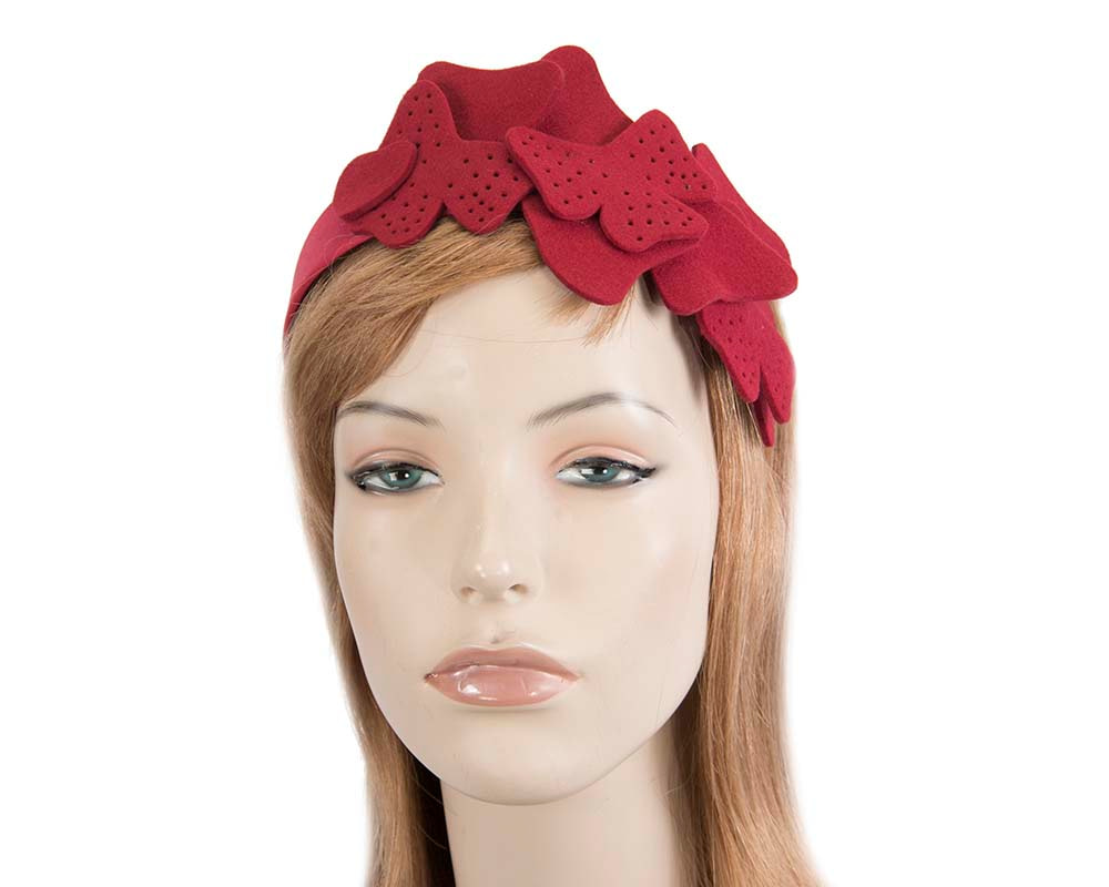 Petite red felt fascinator by Max Alexander