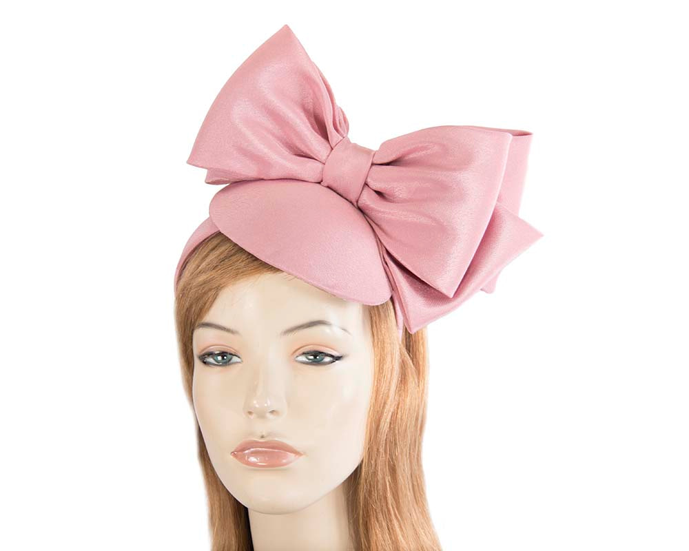 Dusty pink satin fascinator with big bow by Max Alexander