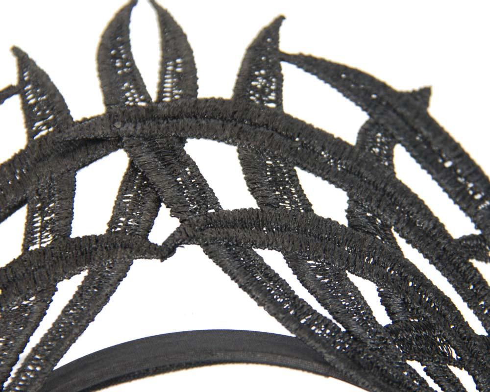 Black lace crown fascinator