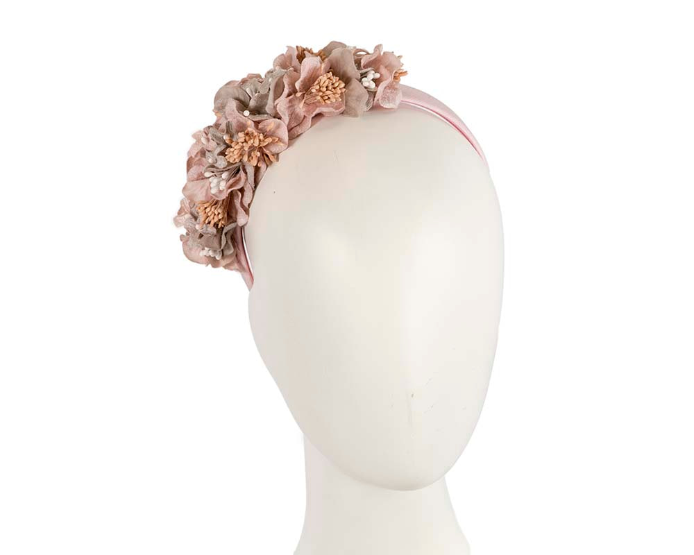 Silver & pink  flower headband racing fascinator