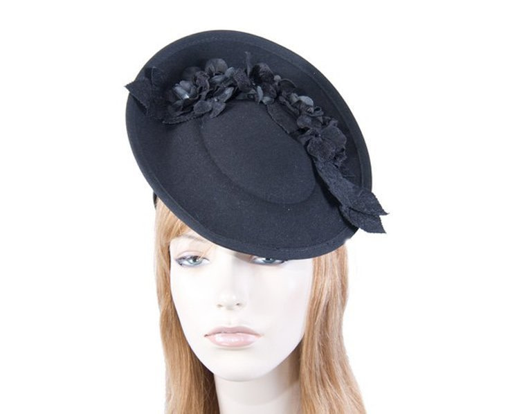 Large black winter racing fascinator with flowers