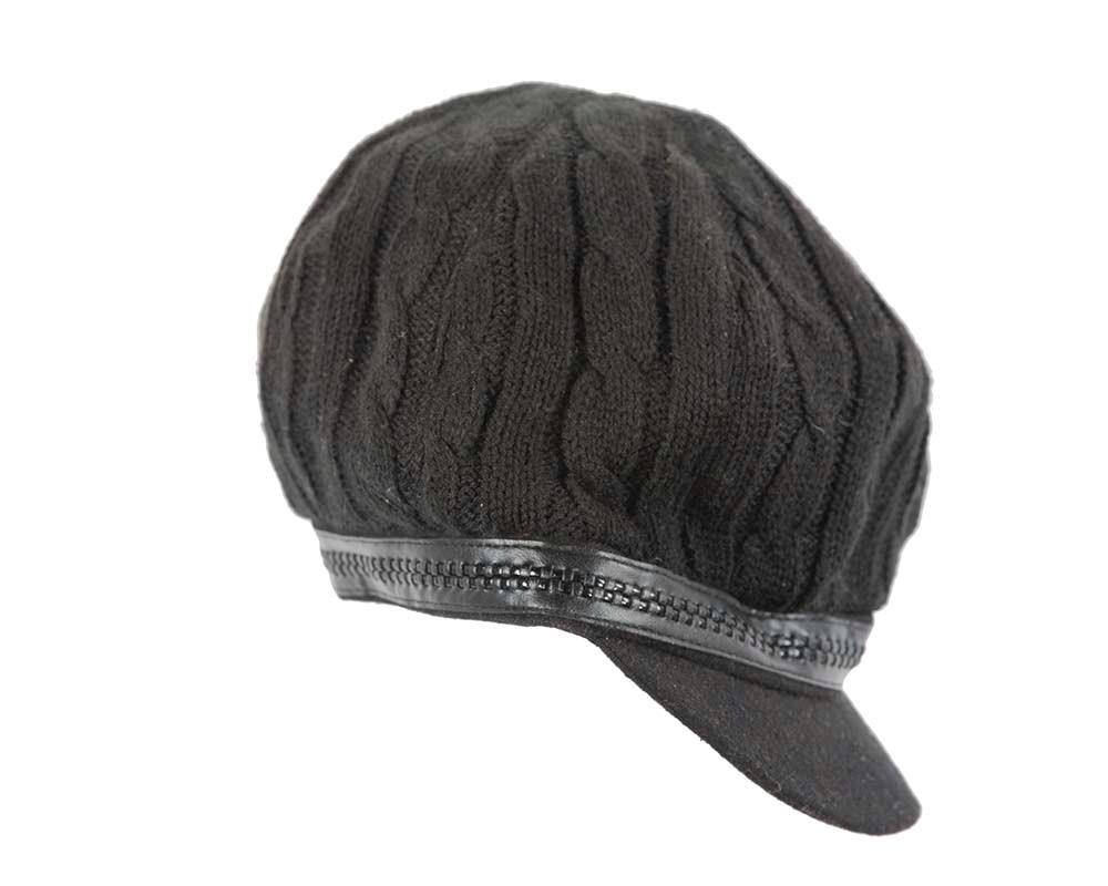 Warm Black winter ladies fashion newsboy beret hat by Max Alexander