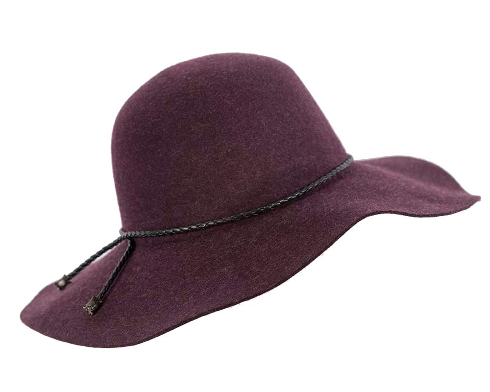 Wide brim burgundy winter cloche hat by Cupids Millinery Melbourne