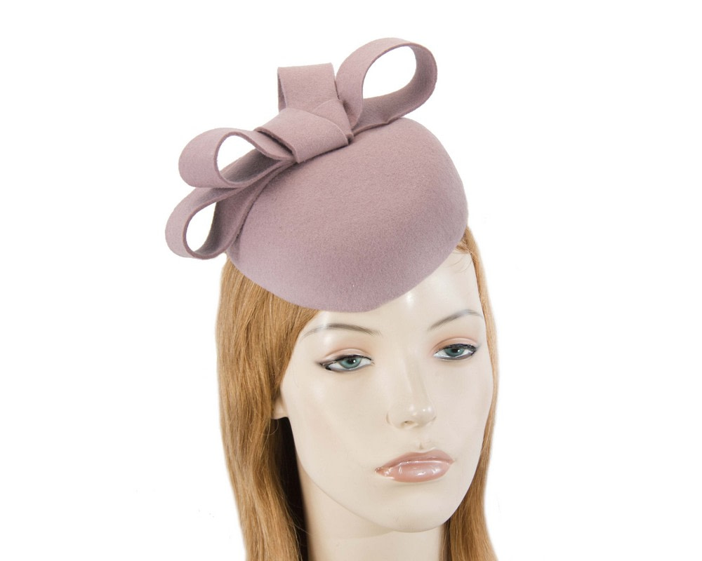 Dusty pink felt winter racing pillbox fascinator