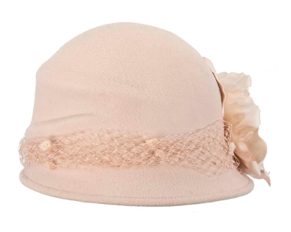 Nude cloche bucket felt hat