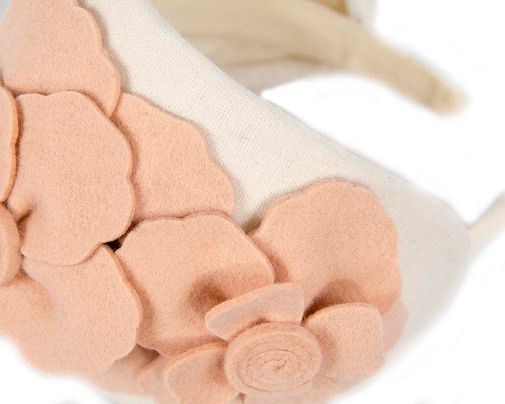 Wide cream & nude winter headband with flowers by Max Alexander