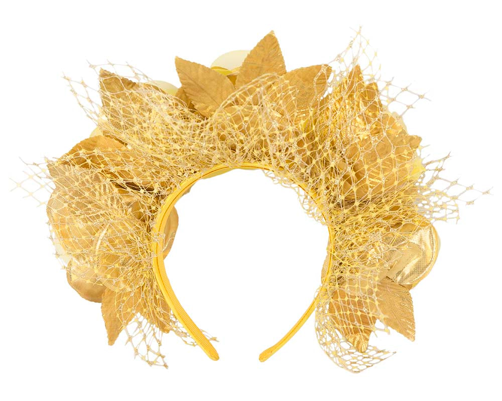 Yellow gold flower headband by Cupids Millinery