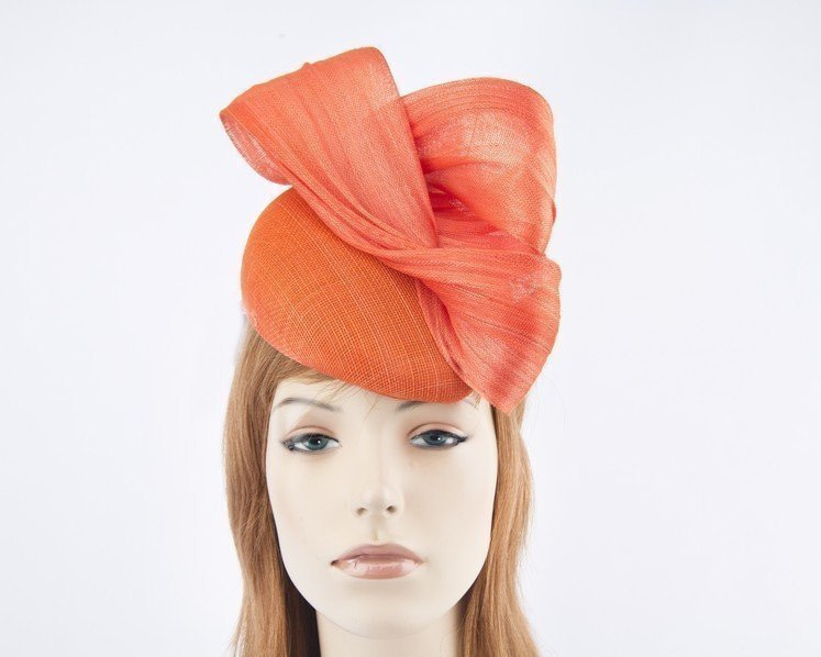 Orange pillbox fascinator for Melbourne Cup races by Fillies Collection