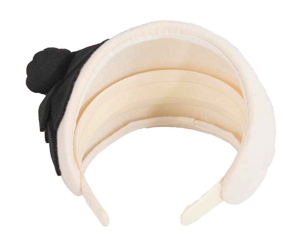 Wide cream & black winter headband with flower by Max Alexander