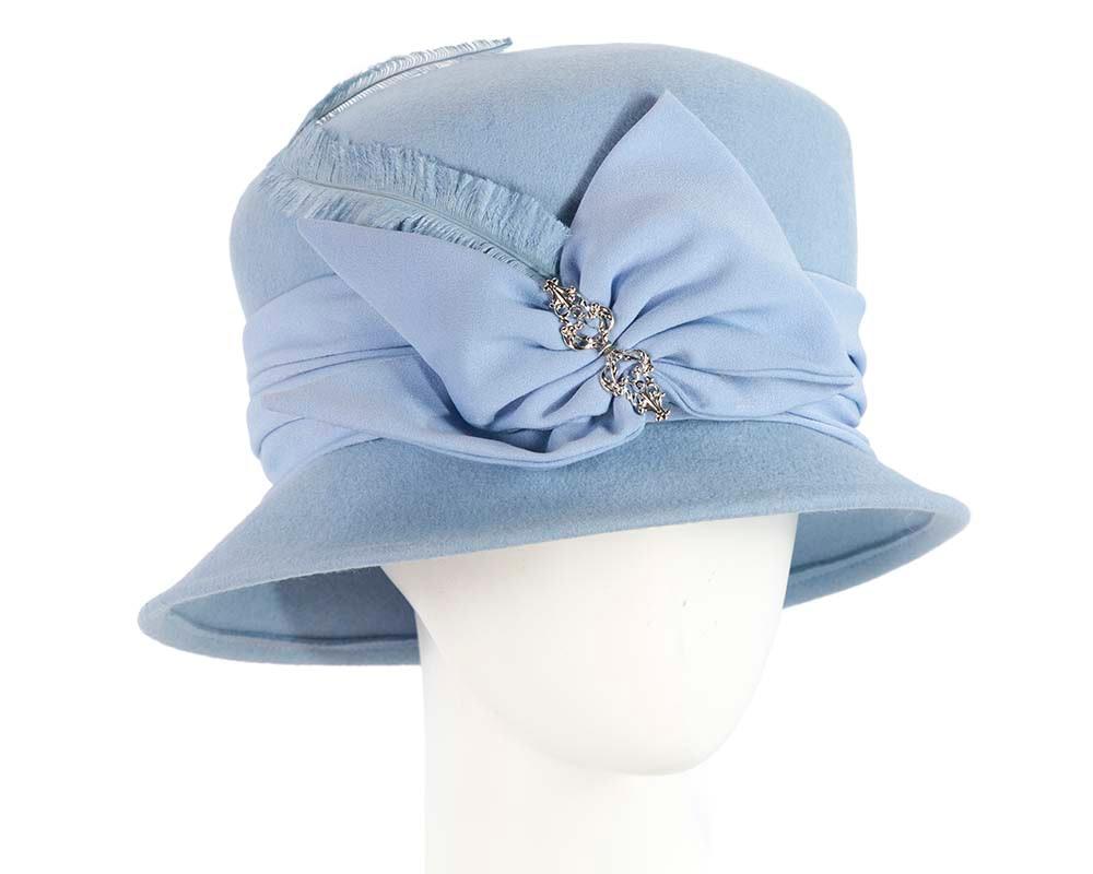 Blue felt winter bucket hat by Cupids Millinery Melbourne