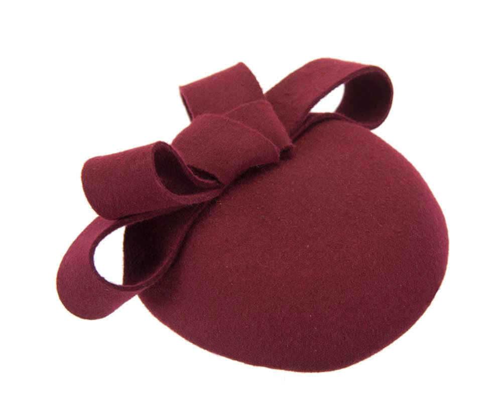 Wine felt winter racing pillbox fascinator