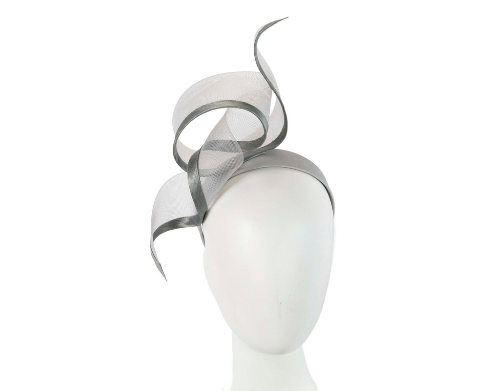 Sculptured silver racing fascinator by Fillies Collection