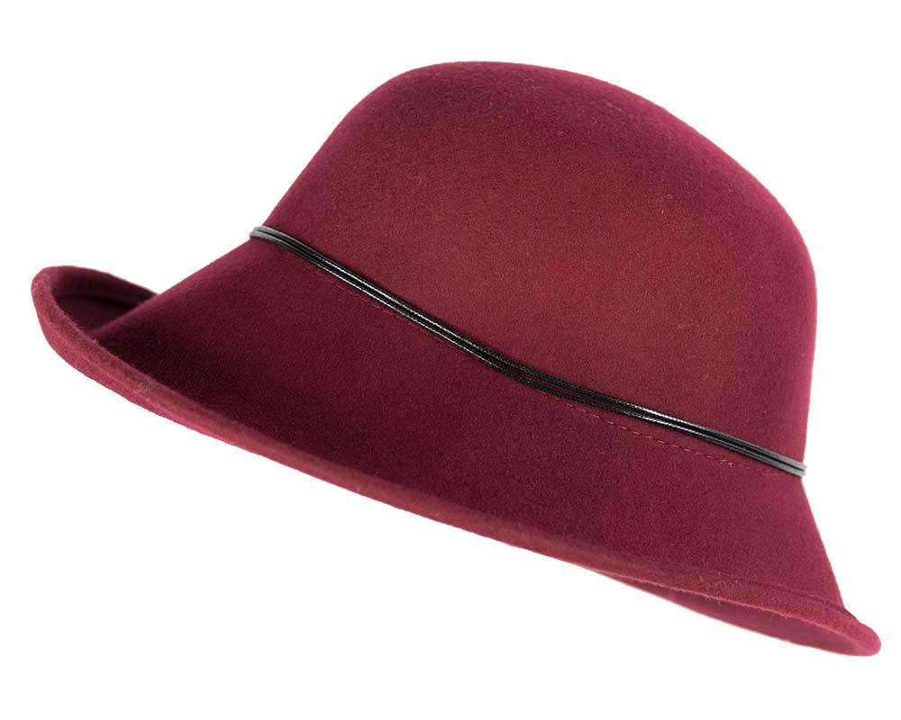 Burgundy felt ladies fashion hat by Max Alexander