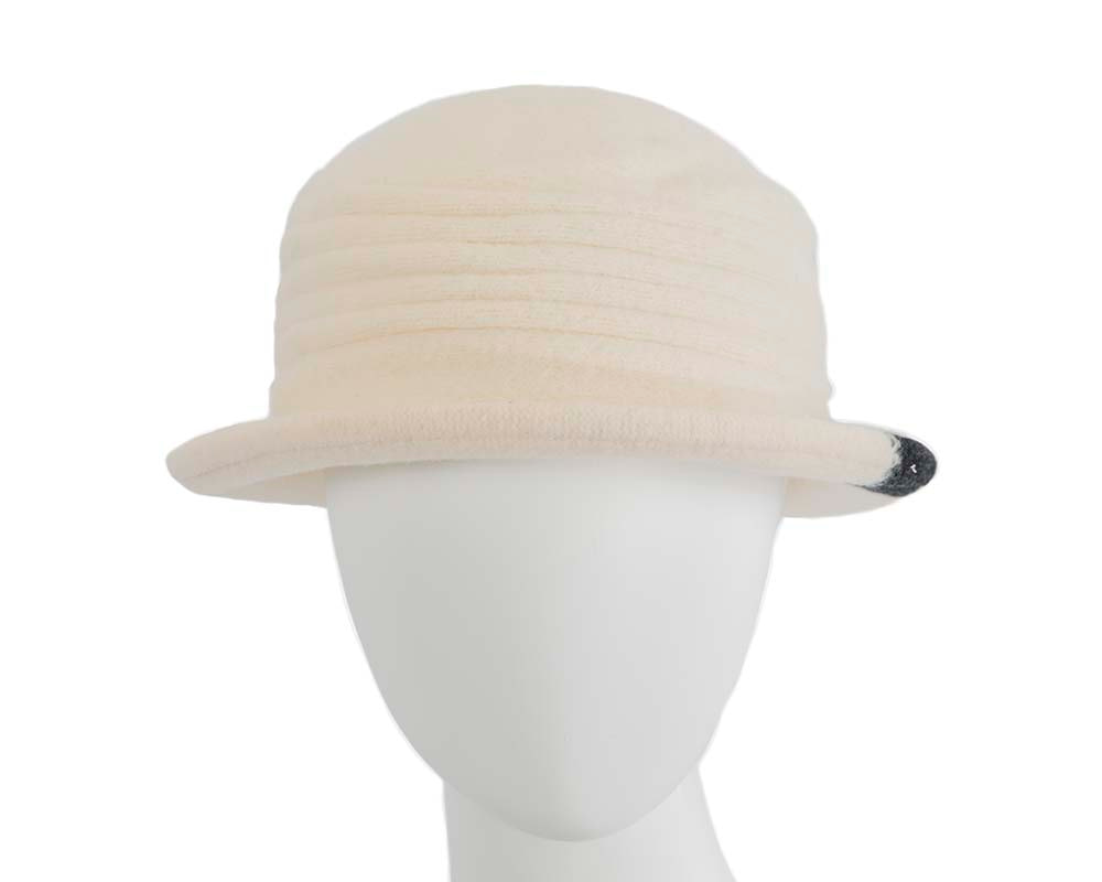 Soft cream winter bucket hat by Max Alexander