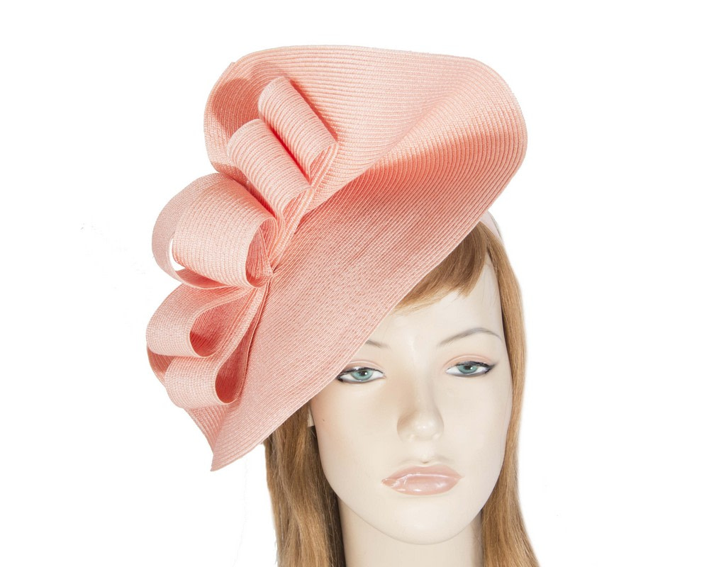 Large coral spring racing fascinator by Max Alexander
