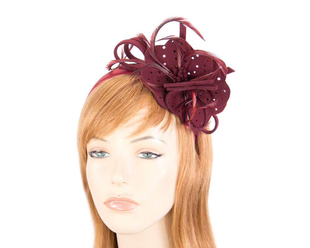 Wine felt flower winter fascinator