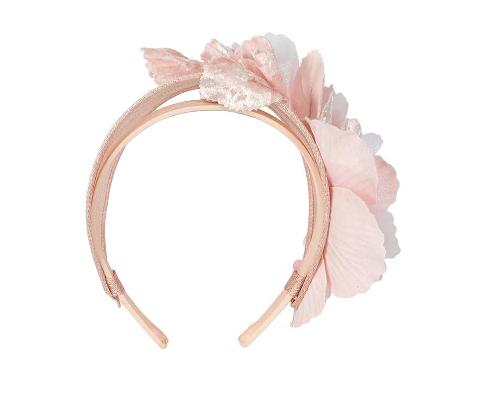 Wide blush flower headband fascinator by Max Alexander